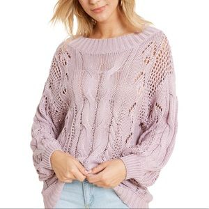 Cable Knit One Shoulder Sweater